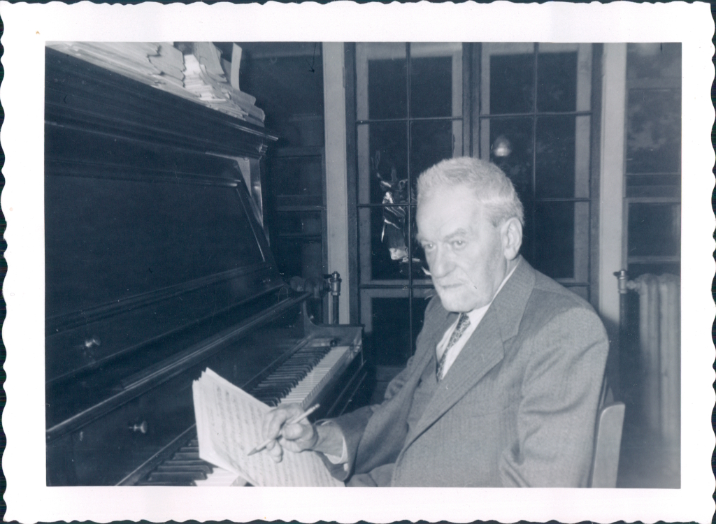 Stoehr in his room in Prevel Hall, 1950's.